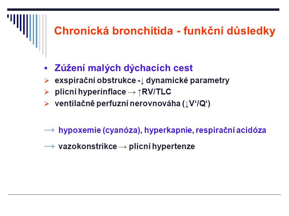 Chronická bronchitida - funkční důsledky  Zúžení malých dýchacích cest  exspirační obstrukce -↓ dynamické parametry  plicní hyperinflace → ↑RV/TLC
