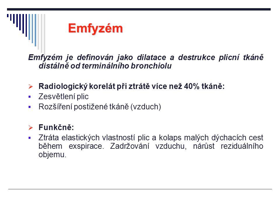 Emfyzém Emfyzém je definován jako dilatace a destrukce plicní tkáně distálně od terminálního bronchiolu  Radiologický korelát při ztrátě více než 40%