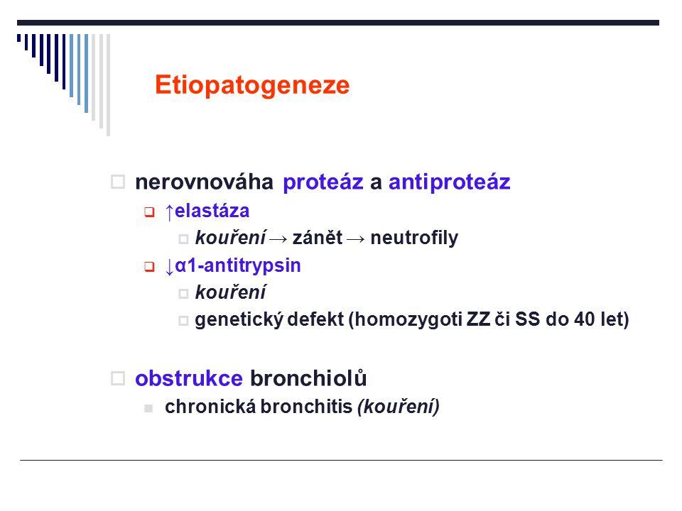 Etiopatogeneze  nerovnováha proteáz a antiproteáz  ↑elastáza  kouření → zánět → neutrofily  ↓α1-antitrypsin  kouření  genetický defekt (homozygo