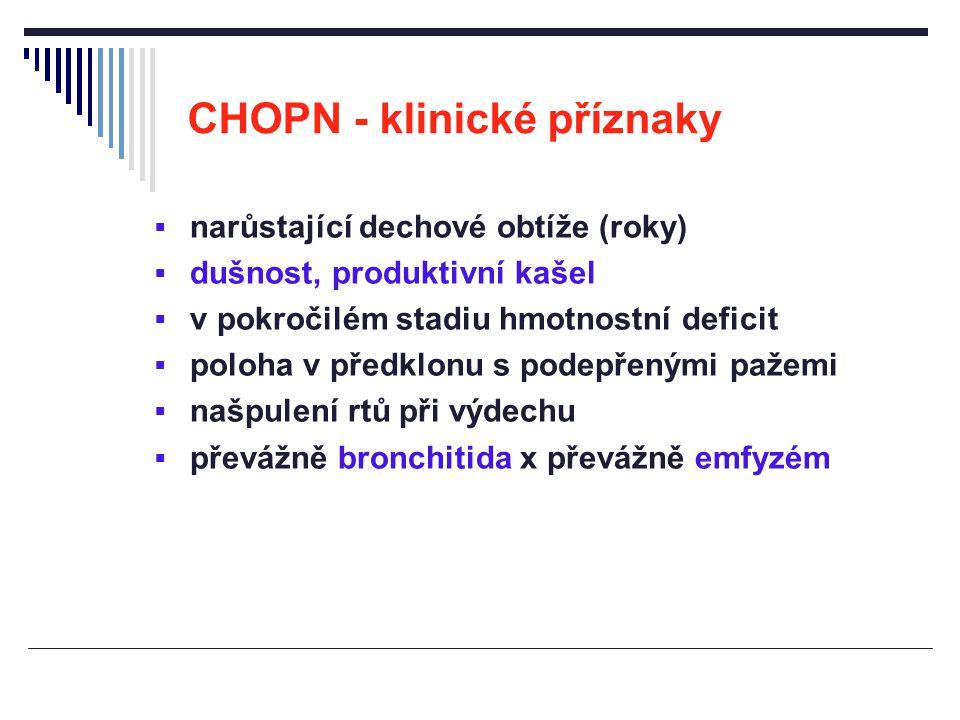 CHOPN - klinické příznaky  narůstající dechové obtíže (roky)  dušnost, produktivní kašel  v pokročilém stadiu hmotnostní deficit  poloha v předklo