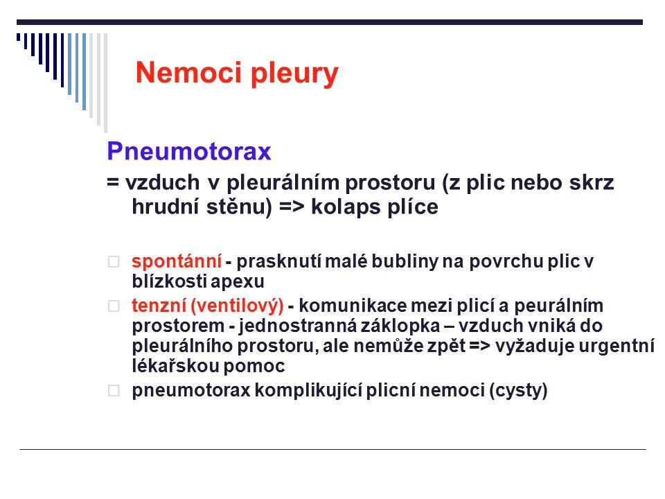 Nemoci pleury Pneumotorax = vzduch v pleurálním prostoru (z plic nebo skrz hrudní stěnu) => kolaps plíce  spontánní - prasknutí malé bubliny na povrc