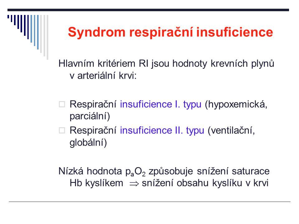 Syndrom respirační insuficience Hlavním kritériem RI jsou hodnoty krevních plynů v arteriální krvi:  Respirační insuficience I. typu (hypoxemická, pa