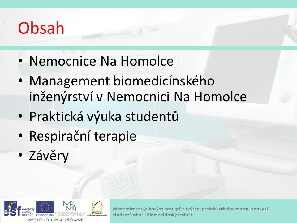 Modernizace výukových postupů a zvýšení praktických dovedností a návyků studentů oboru Biomedicínský technik Obsah Nemocnice Na Homolce Management bio