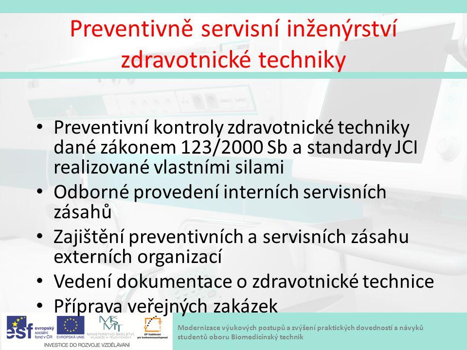 Modernizace výukových postupů a zvýšení praktických dovedností a návyků studentů oboru Biomedicínský technik Preventivně servisní inženýrství zdravotn