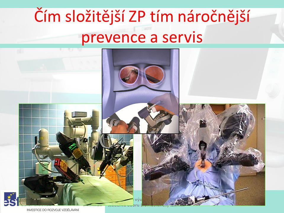 Modernizace výukových postupů a zvýšení praktických dovedností a návyků studentů oboru Biomedicínský technik Čím složitější ZP tím náročnější prevence