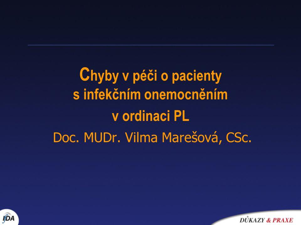 C hyby v péči o pacienty s infekčním onemocněním v ordinaci PL Doc. MUDr. Vilma Marešová, CSc.
