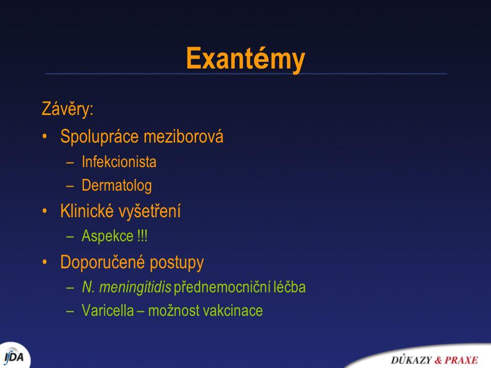 Exant é my Závěry: Spolupráce meziborová –Infekcionista –Dermatolog Klinické vyšetření –Aspekce !!! Doporučené postupy – N. meningitidis přednemocničn