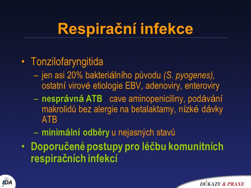 Respirační infekce Tonzilofaryngitida –jen asi 20% bakteri á ln í ho původu (S. pyogenes), ostatn í virov é etiologie EBV, adenoviry, enteroviry – nes
