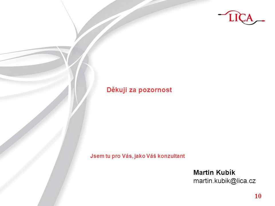 Děkuji za pozornost Martin Kubík martin.kubik@lica.cz 10 Jsem tu pro Vás, jako Váš konzultant