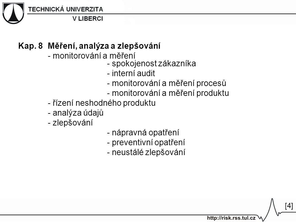 Kap. 8Měření, analýza a zlepšování - monitorování a měření - spokojenost zákazníka - interní audit - monitorování a měření procesů - monitorování a mě