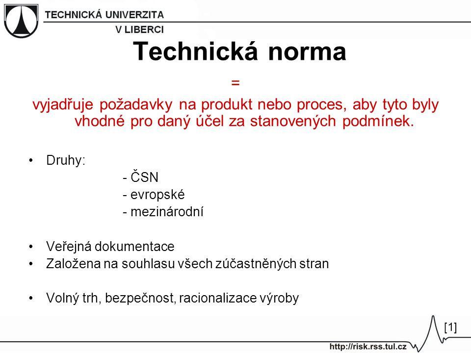 Technická norma = vyjadřuje požadavky na produkt nebo proces, aby tyto byly vhodné pro daný účel za stanovených podmínek. Druhy: - ČSN - evropské - me