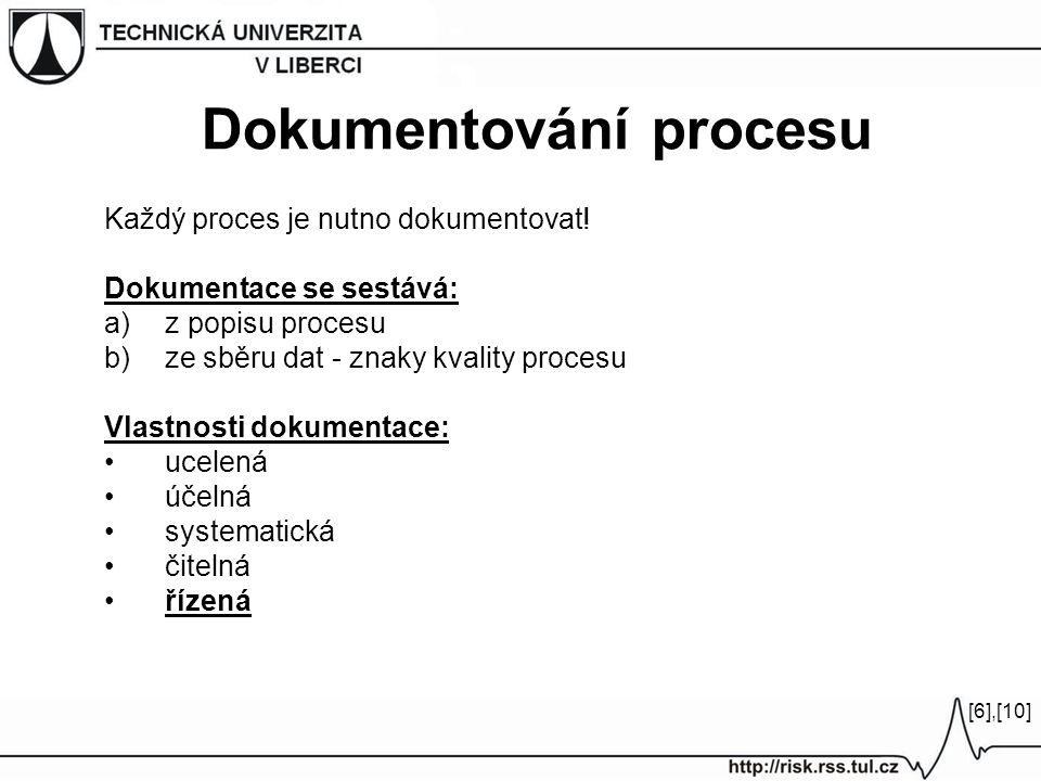 Každý proces je nutno dokumentovat! Dokumentace se sestává: a)z popisu procesu b)ze sběru dat - znaky kvality procesu Vlastnosti dokumentace: ucelená