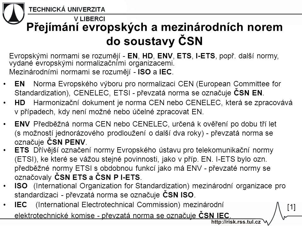 Přejímání evropských a mezinárodních norem do soustavy ČSN Evropskými normami se rozumějí - EN, HD, ENV, ETS, I-ETS, popř. další normy, vydané evropsk