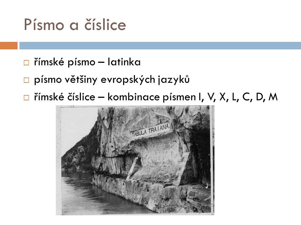 Písmo a číslice  římské písmo – latinka  písmo většiny evropských jazyků  římské číslice – kombinace písmen I, V, X, L, C, D, M