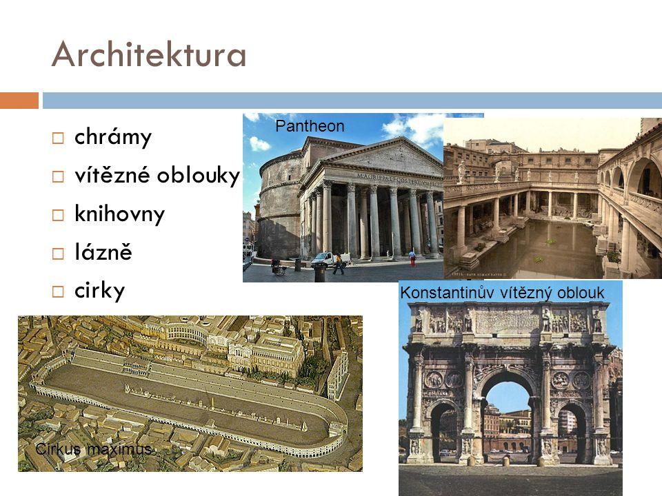 Architektura  chrámy  vítězné oblouky  knihovny  lázně  cirky Pantheon Konstantinův vítězný oblouk Cirkus maximus