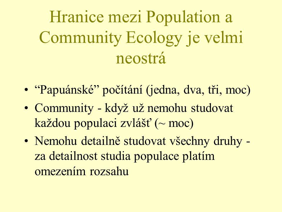 """Hranice mezi Population a Community Ecology je velmi neostrá """"Papuánské"""" počítání (jedna, dva, tři, moc) Community - když už nemohu studovat každou po"""