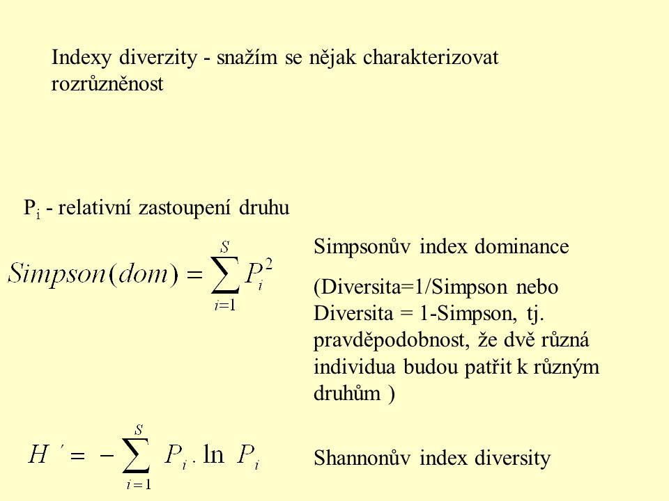 P i - relativní zastoupení druhu Shannonův index diversity Simpsonův index dominance (Diversita=1/Simpson nebo Diversita = 1-Simpson, tj. pravděpodobn