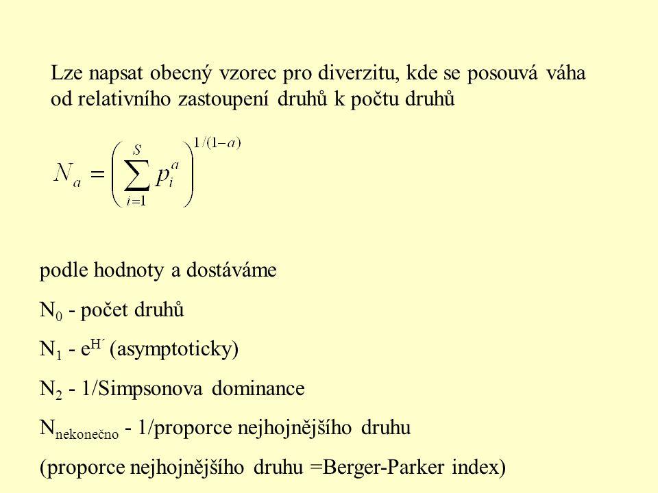 Lze napsat obecný vzorec pro diverzitu, kde se posouvá váha od relativního zastoupení druhů k počtu druhů podle hodnoty a dostáváme N 0 - počet druhů