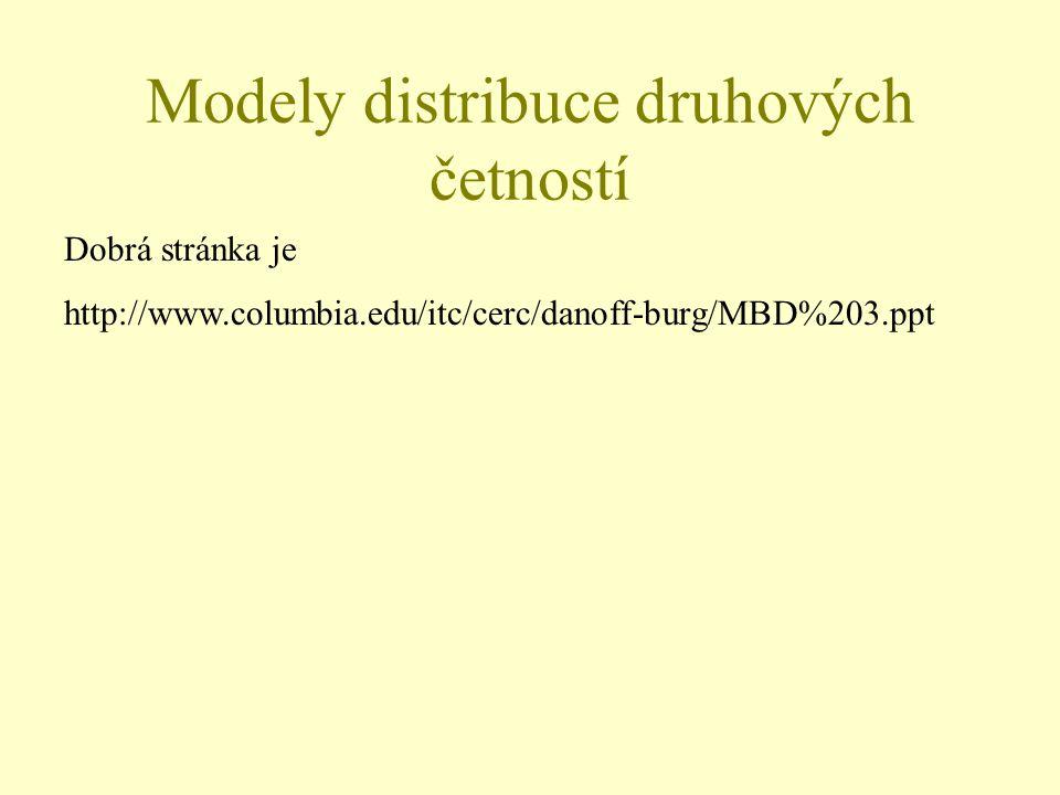 Modely distribuce druhových četností Dobrá stránka je http://www.columbia.edu/itc/cerc/danoff-burg/MBD%203.ppt