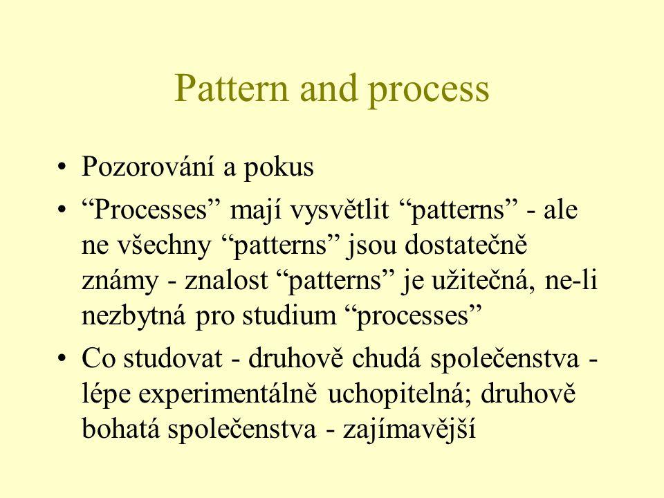 """Pattern and process Pozorování a pokus """"Processes"""" mají vysvětlit """"patterns"""" - ale ne všechny """"patterns"""" jsou dostatečně známy - znalost """"patterns"""" je"""