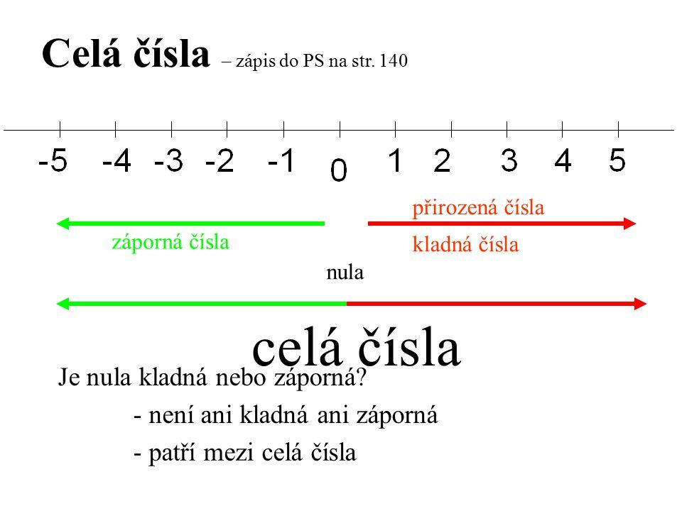 Celá čísla – zápis do PS na str. 140 kladná čísla záporná čísla Je nula kladná nebo záporná? - není ani kladná ani záporná - patří mezi celá čísla nul