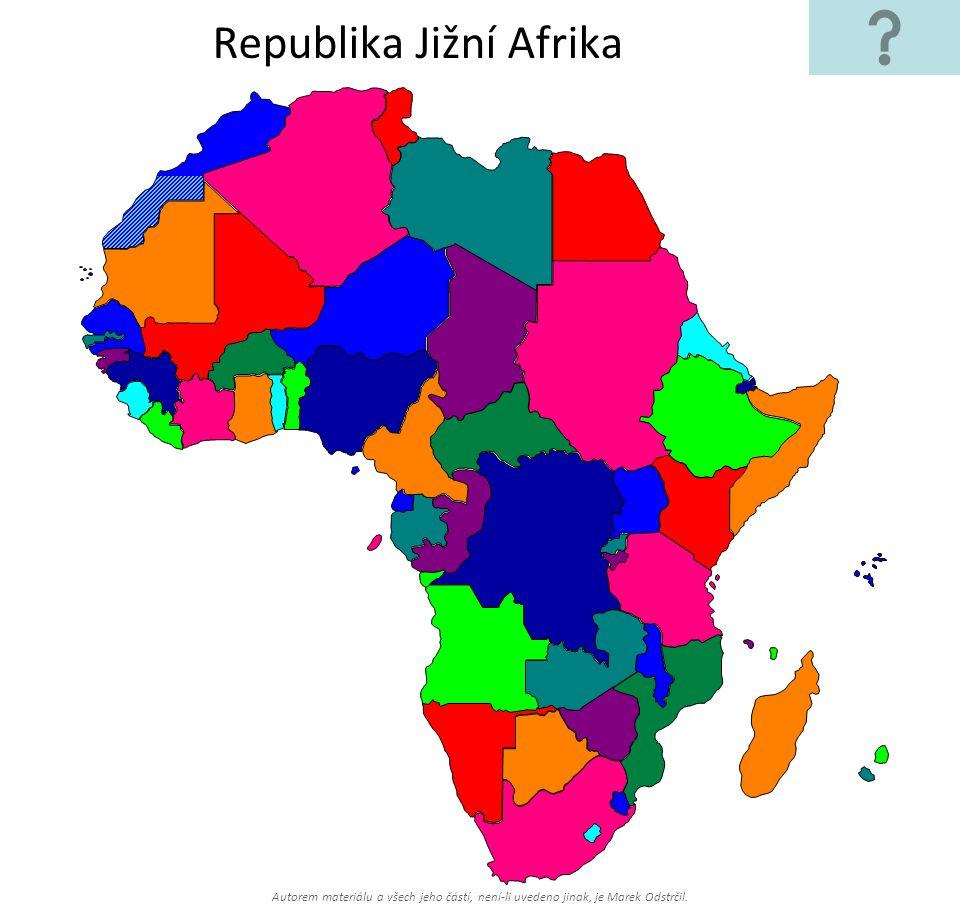 Autorem materiálu a všech jeho částí, není-li uvedeno jinak, je Marek Odstrčil. Republika Jižní Afrika