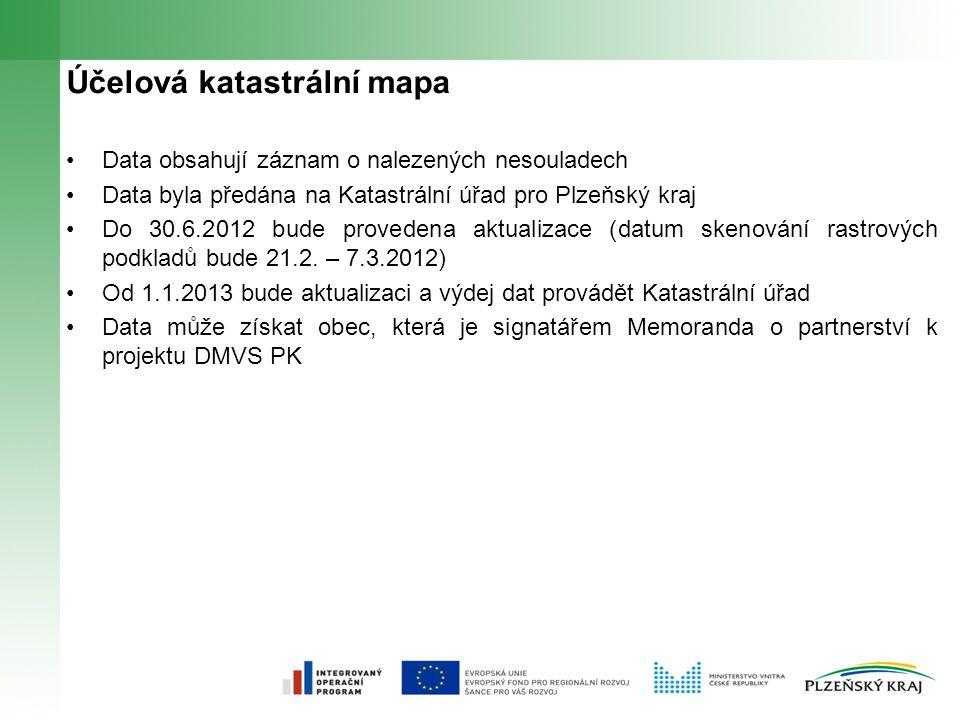 Účelová katastrální mapa Data obsahují záznam o nalezených nesouladech Data byla předána na Katastrální úřad pro Plzeňský kraj Do 30.6.2012 bude provedena aktualizace (datum skenování rastrových podkladů bude 21.2.
