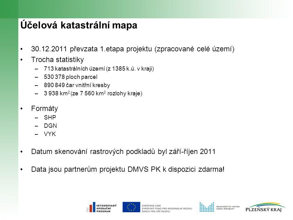 Účelová katastrální mapa 30.12.2011 převzata 1.etapa projektu (zpracované celé území) Trocha statistiky –713 katastrálních území (z 1385 k.ú.