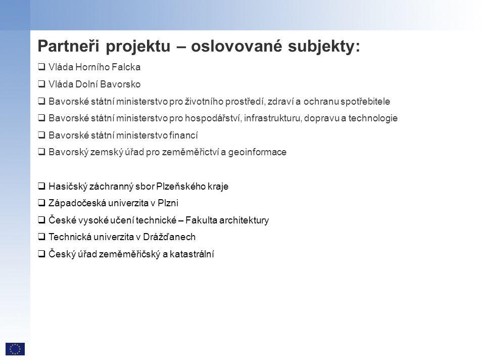 Partneři projektu – oslovované subjekty:  Vláda Horního Falcka  Vláda Dolní Bavorsko  Bavorské státní ministerstvo pro životního prostředí, zdraví