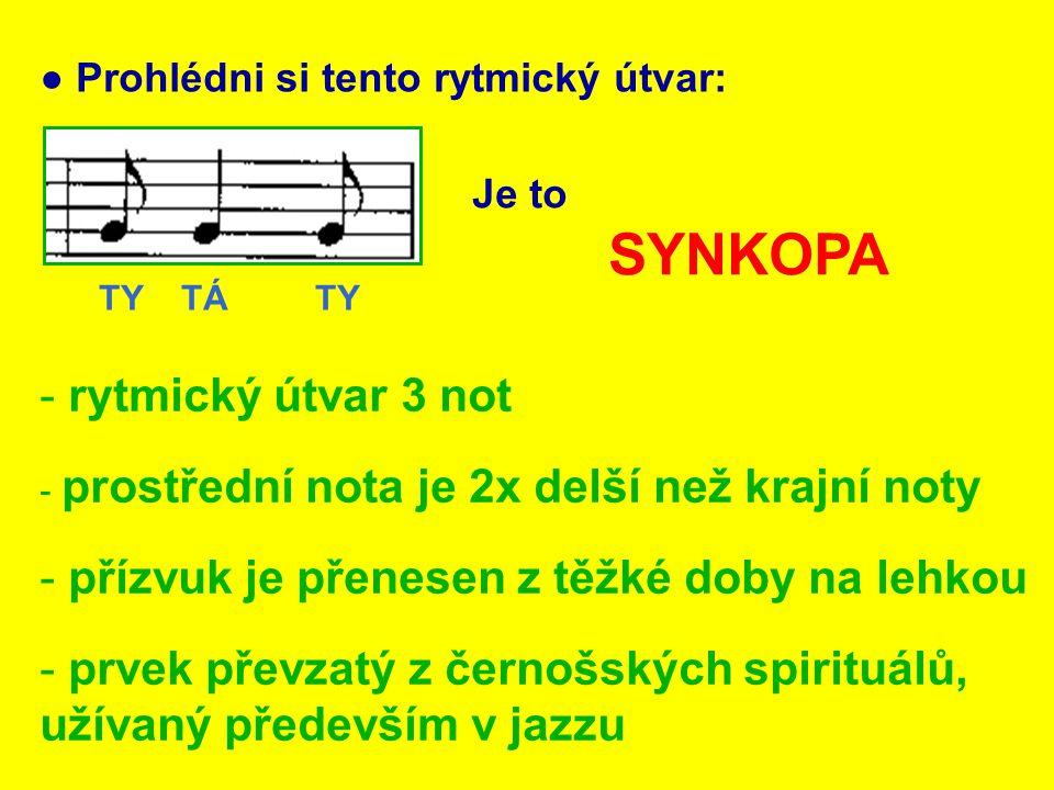 ● Označ kroužkem synkopu: TY TÁ TY - rytmické slabiky pro snadnější vytleskávání TY - OSMINOVÁ NOTA TÁ - ČTVRŤOVÁ NOTA