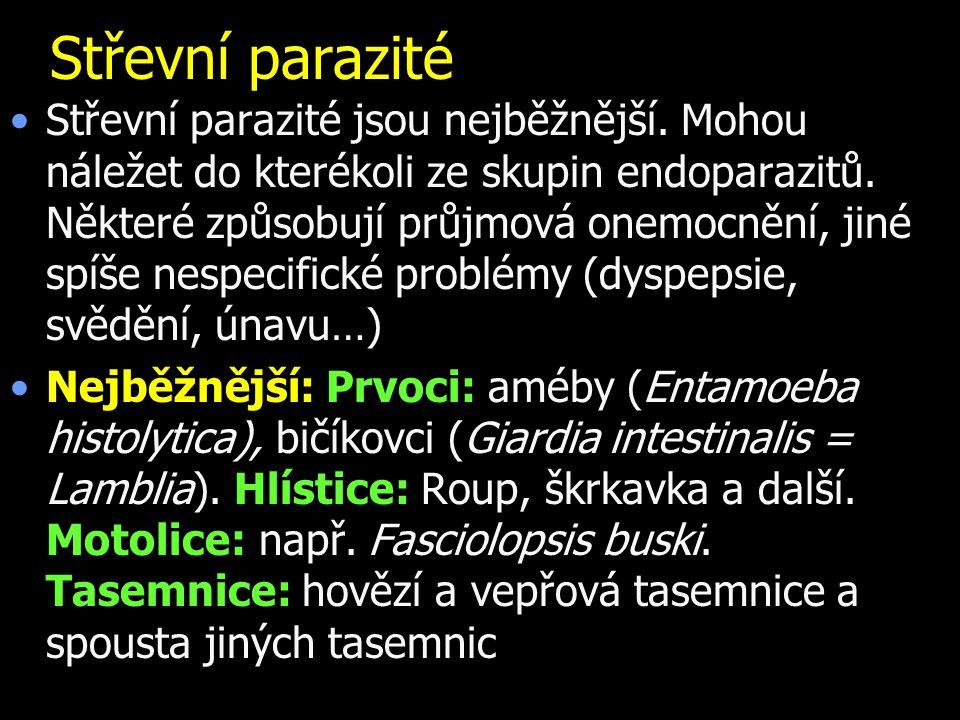 Střevní parazité Střevní parazité jsou nejběžnější.