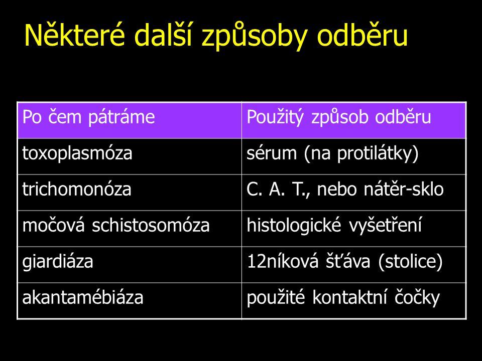 Některé další způsoby odběru Po čem pátrámePoužitý způsob odběru toxoplasmózasérum (na protilátky) trichomonózaC. A. T., nebo nátěr-sklo močová schist