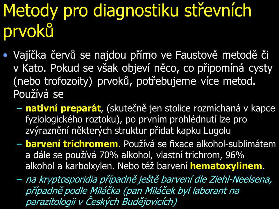 Metody pro diagnostiku střevních prvoků Vajíčka červů se najdou přímo ve Faustově metodě či v Kato. Pokud se však objeví něco, co připomíná cysty (neb