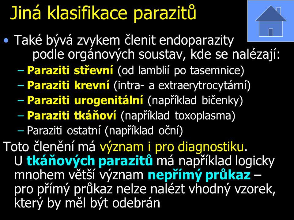 Jiná klasifikace parazitů Také bývá zvykem členit endoparazity podle orgánových soustav, kde se nalézají: –Paraziti střevní (od lamblií po tasemnice) –Paraziti krevní (intra- a extraerytrocytární) –Paraziti urogenitální (například bičenky) –Paraziti tkáňoví (například toxoplasma) –Paraziti ostatní (například oční) Toto členění má význam i pro diagnostiku.