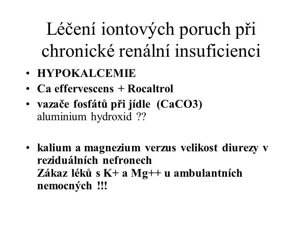 Léčení iontových poruch při chronické renální insuficienci HYPOKALCEMIE Ca effervescens + Rocaltrol vazače fosfátů při jídle (CaCO3) aluminium hydroxi
