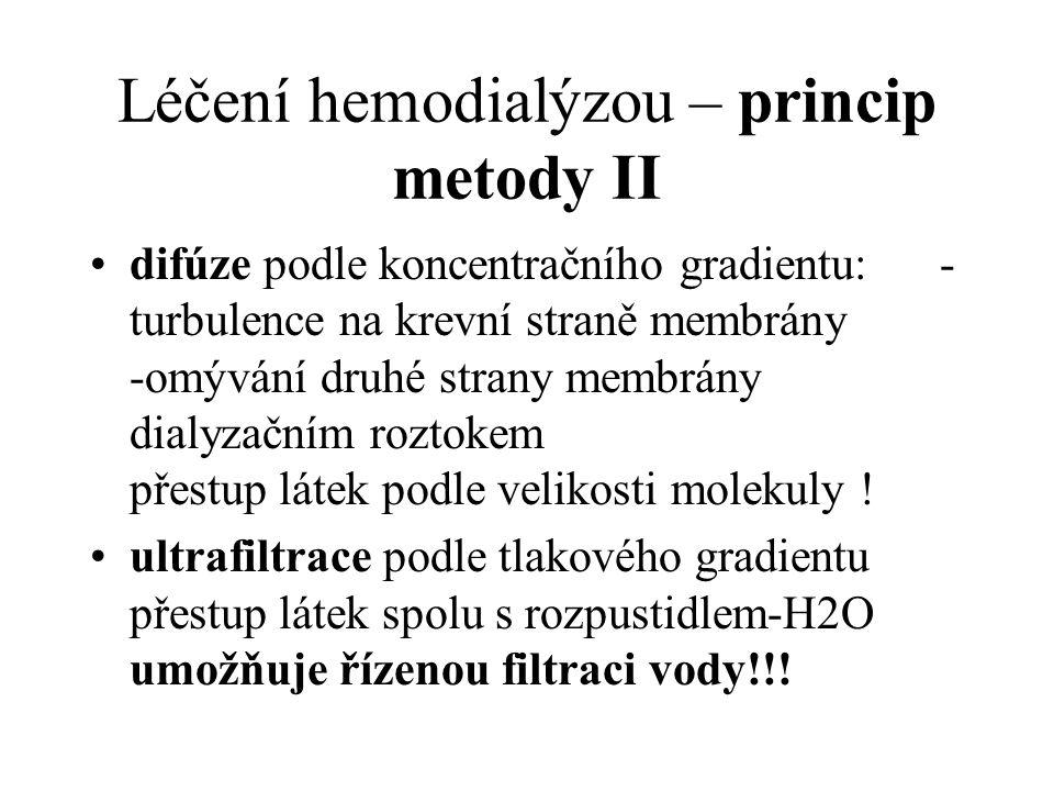 Léčení hemodialýzou – princip metody II difúze podle koncentračního gradientu: - turbulence na krevní straně membrány -omývání druhé strany membrány d