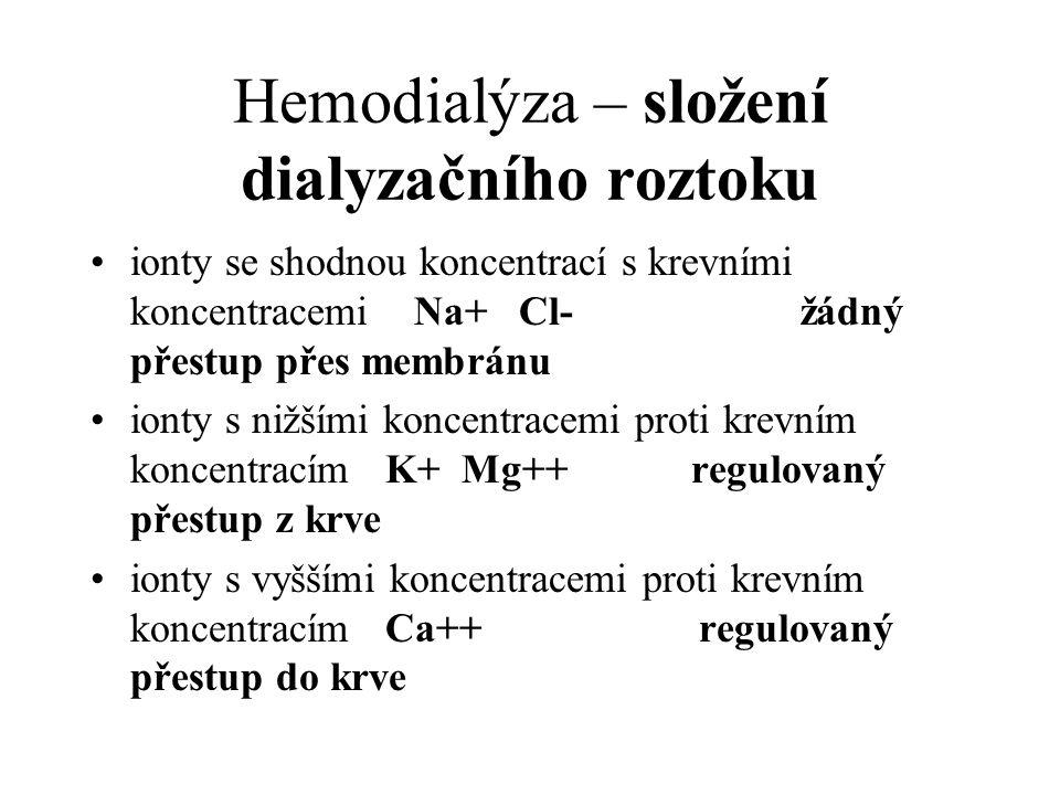 Hemodialýza – složení dialyzačního roztoku ionty se shodnou koncentrací s krevními koncentracemi Na+ Cl- žádný přestup přes membránu ionty s nižšími k