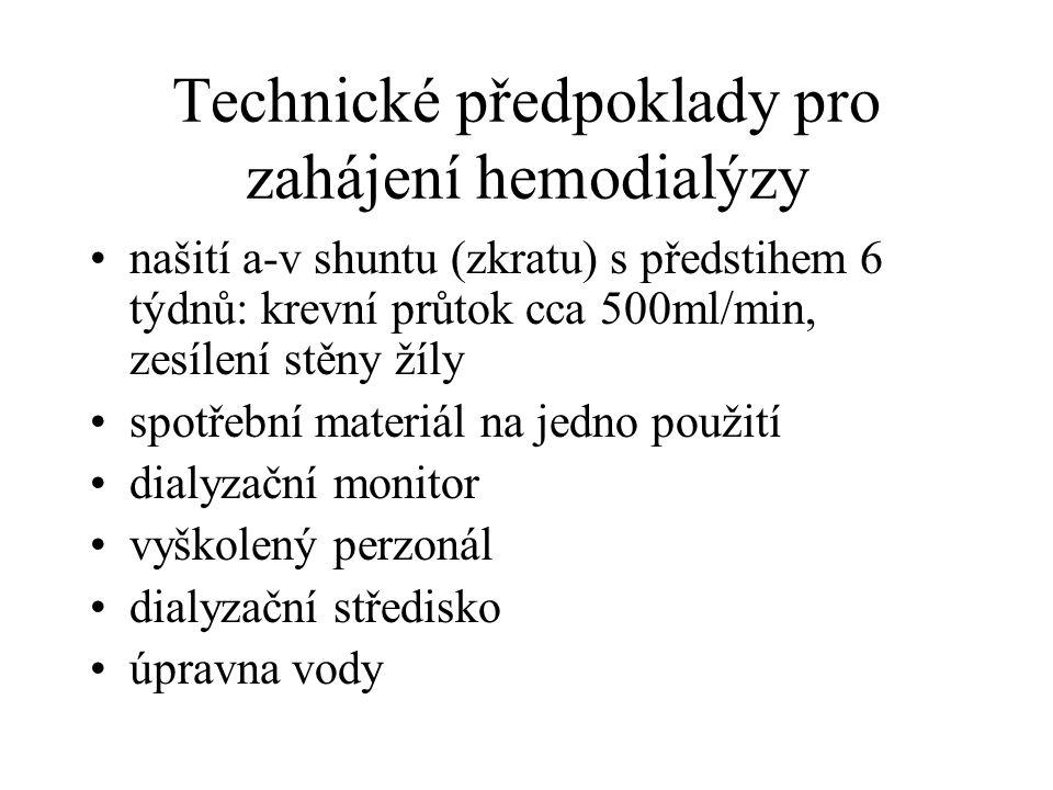 Technické předpoklady pro zahájení hemodialýzy našití a-v shuntu (zkratu) s předstihem 6 týdnů: krevní průtok cca 500ml/min, zesílení stěny žíly spotř