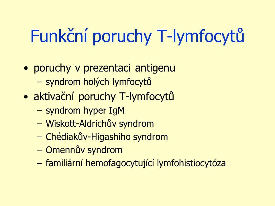Funkční poruchy T-lymfocytů poruchy v prezentaci antigenu –syndrom holých lymfocytů aktivační poruchy T-lymfocytů –syndrom hyper IgM –Wiskott-Aldrichů