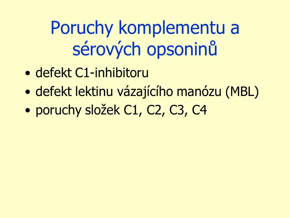 Poruchy komplementu a sérových opsoninů defekt C1-inhibitoru defekt lektinu vázajícího manózu (MBL) poruchy složek C1, C2, C3, C4