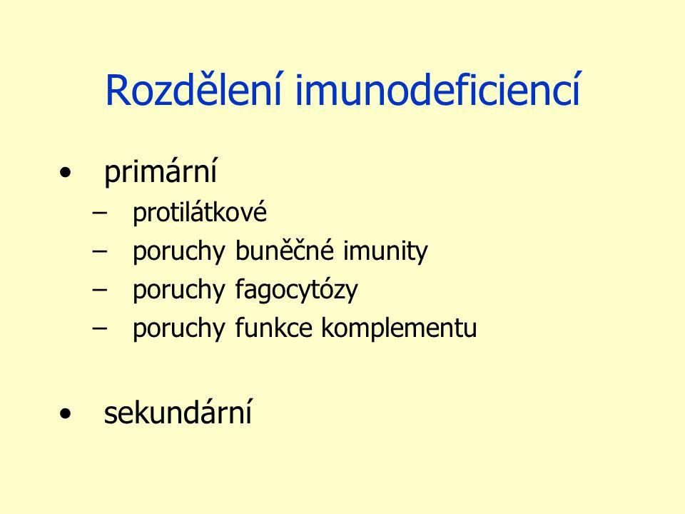 Rozdělení imunodeficiencí primární –protilátkové –poruchy buněčné imunity –poruchy fagocytózy –poruchy funkce komplementu sekundární