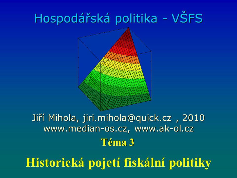 Vymezení Fiskální politika je tvorba příjmů a výdajů veřejných rozpočtů s cílem ovlivnění konjunktury a růstu.