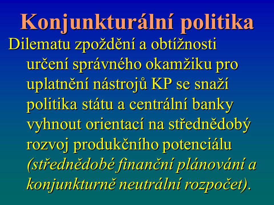 Konjunkturální politika Dilematu zpoždění a obtížnosti určení správného okamžiku pro uplatnění nástrojů KP se snaží politika státu a centrální banky v