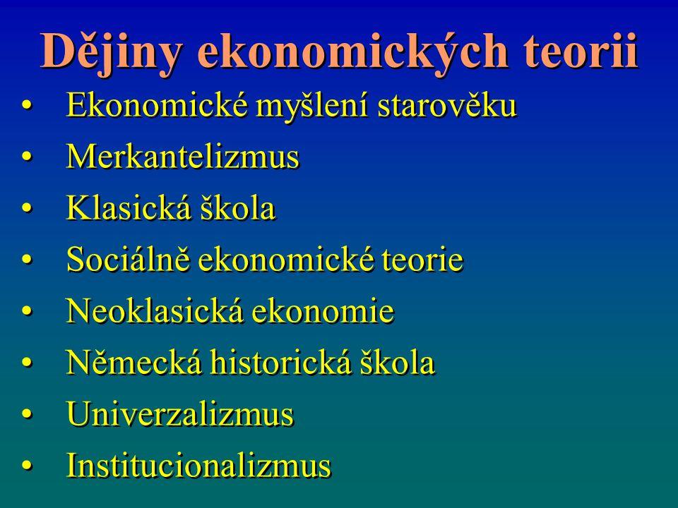 Dějiny ekonomických teorii Ekonomické myšlení starověku Merkantelizmus Klasická škola Sociálně ekonomické teorie Neoklasická ekonomie Německá historic