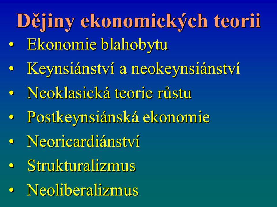 Dějiny ekonomických teorii Ekonomie blahobytu Keynsiánství a neokeynsiánství Neoklasická teorie růstu Postkeynsiánská ekonomie Neoricardiánství Strukt