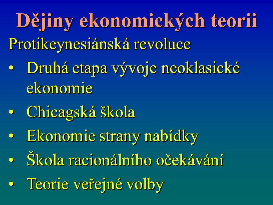 Dějiny ekonomických teorii Protikeynesiánská revoluce Druhá etapa vývoje neoklasické ekonomie Chicagská škola Ekonomie strany nabídky Škola racionální