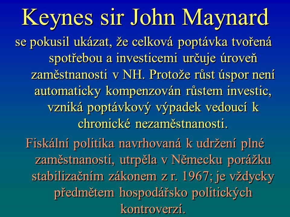 Keynes sir John Maynard se pokusil ukázat, že celková poptávka tvořená spotřebou a investicemi určuje úroveň zaměstnanosti v NH. Protože růst úspor ne