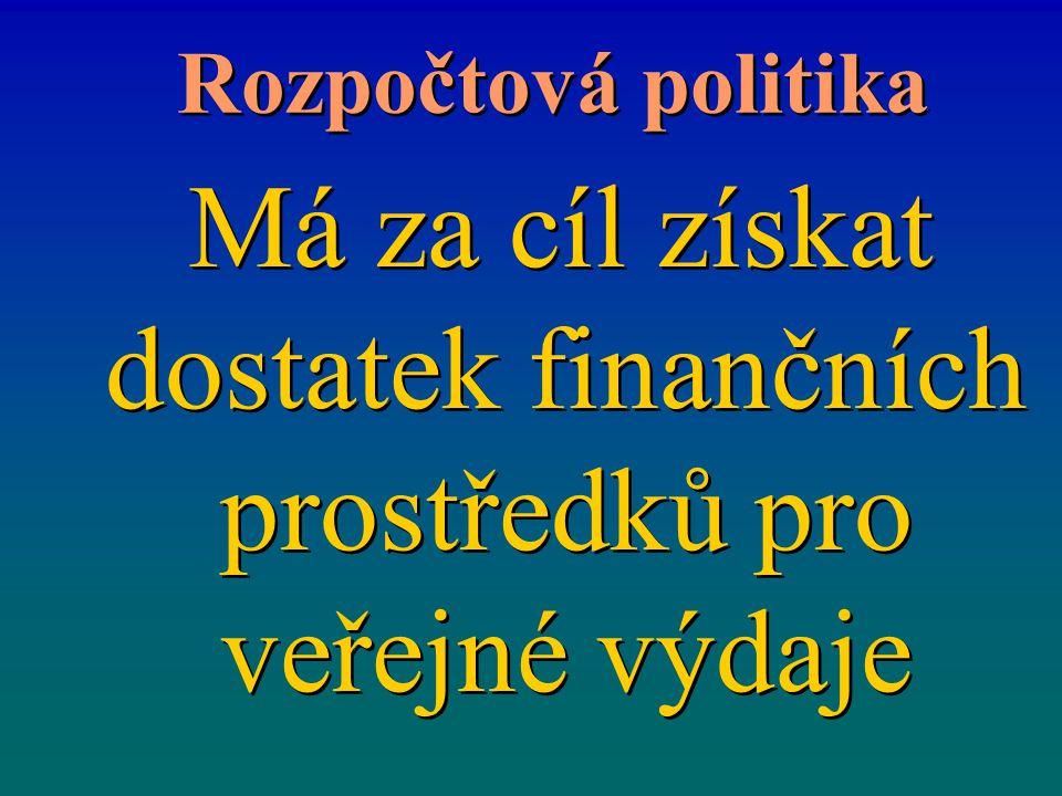 Rozpočtová politika Má za cíl získat dostatek finančních prostředků pro veřejné výdaje