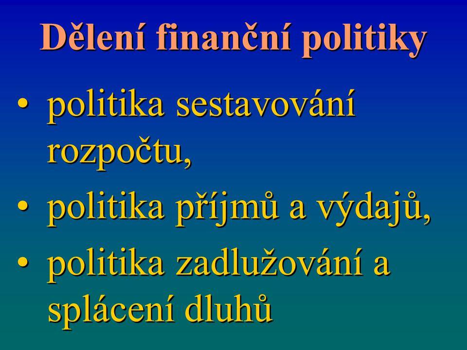 Dělení finanční politiky politika sestavování rozpočtu, politika příjmů a výdajů, politika zadlužování a splácení dluhů politika sestavování rozpočtu,