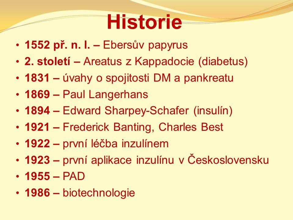 Historie 1552 př. n. l. – Ebersův papyrus 2. století – Areatus z Kappadocie (diabetus) 1831 – úvahy o spojitosti DM a pankreatu 1869 – Paul Langerhans